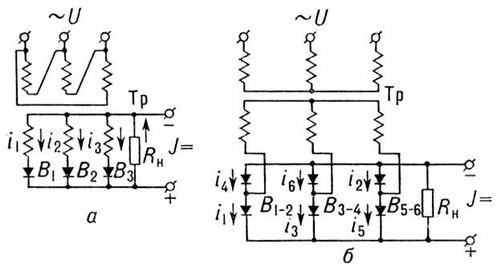 Схемы выпрямителей однофазного