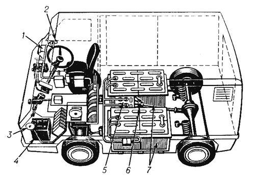 ...автомобильного транспорта): 1 - акселератор; 2 - включатель; 3 - розетка для подзарядки; 4 - служебный аккумулятор...