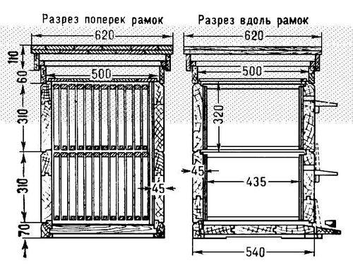 Двухкорпусный улей (схема