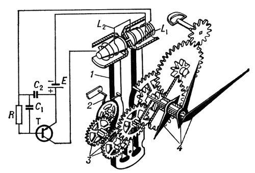 Схема камертонных часов: Т - транзистор; R - резистор; C - конденсатор; L1 - обмотка освобождения; L2...